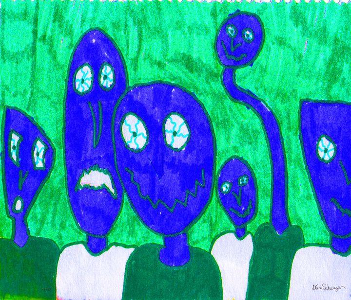 The 6 dudesmen (in blue) - Don Schwieger
