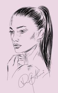 Female portrait drawing
