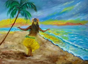 Hula Girl on the Beach Sunset - Jennylee