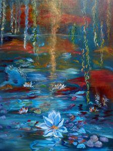 Moonlit Monet's Pond