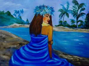 Hula Girl on the Beach Blue - Jennylee