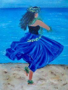 Hula Girl on the Beach Royal Blue