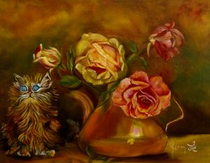 Kitty in the Yellow Roses