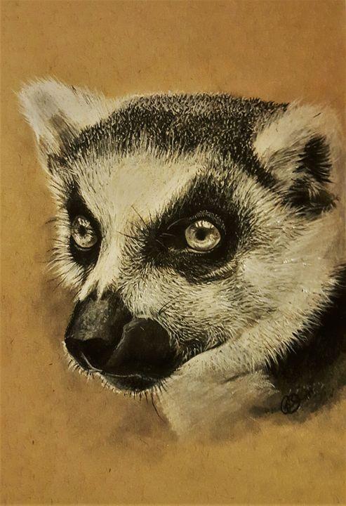 Realistic charcoal lemur portrait - Gilca O'ferral
