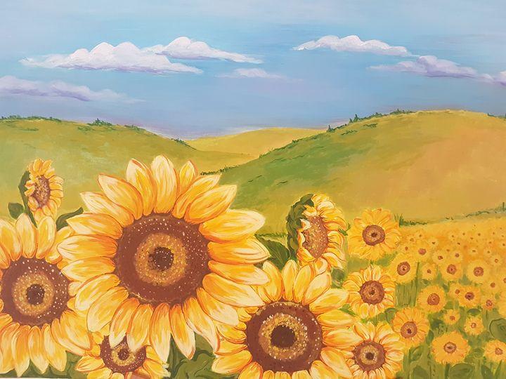 Sunflower landscape painting - Deja-VU