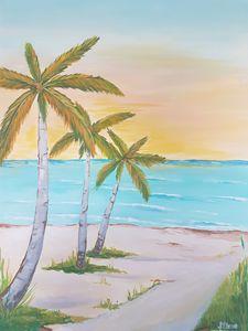 Beach sand , sea and trees