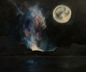 The moon night sky