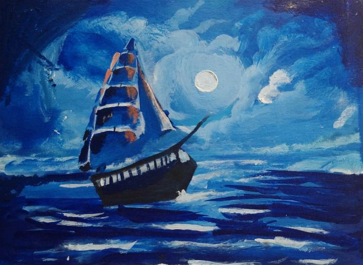 Voyage in full moon night - ArtistPiyush