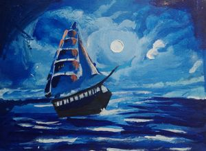 Voyage in full moon night