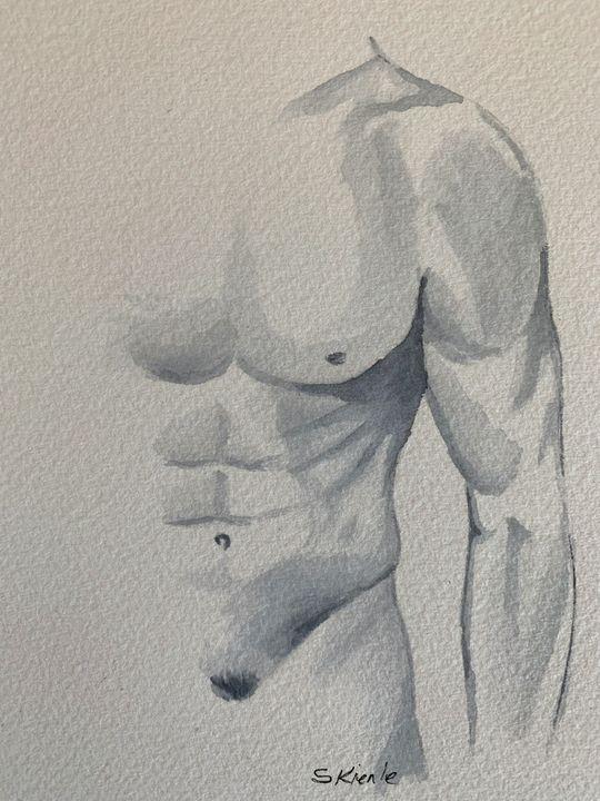 Nude Male Watercolor - Sean Kienle Watercolor Designs