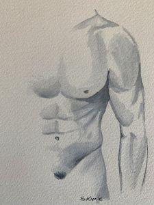 Nude Male Watercolor