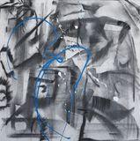 """Blue Bike"" Charcoal on Canvas"