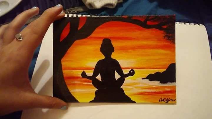 Sunset Meditation Original Painting - Acrylic Paintings By Abby Cyr