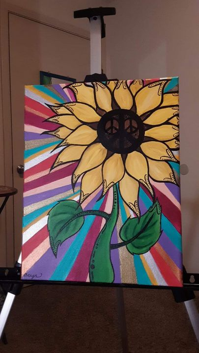 Colorful Sunflower Original Painting - Acrylic Paintings By Abby Cyr