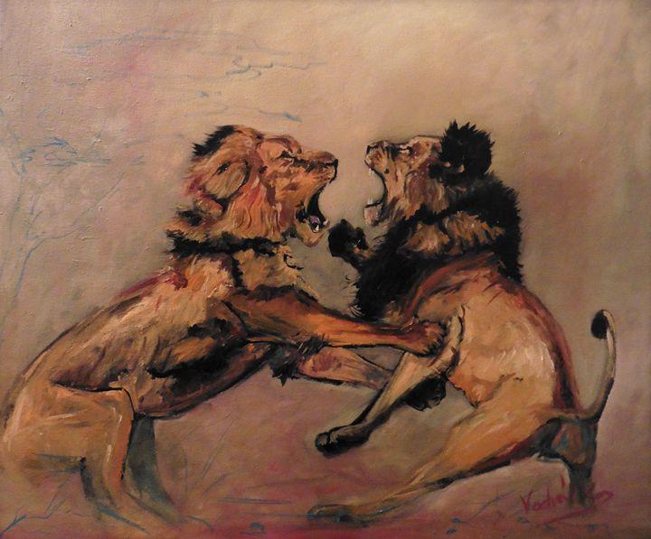 Lions fight - Painter Marek Vodvářka