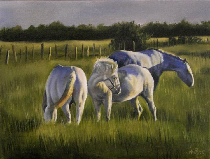 Horses at Dusk - Oil and Print Originals by W.A.P