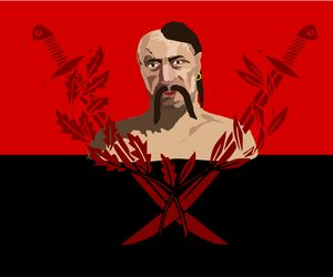 Cossack on red and black flag