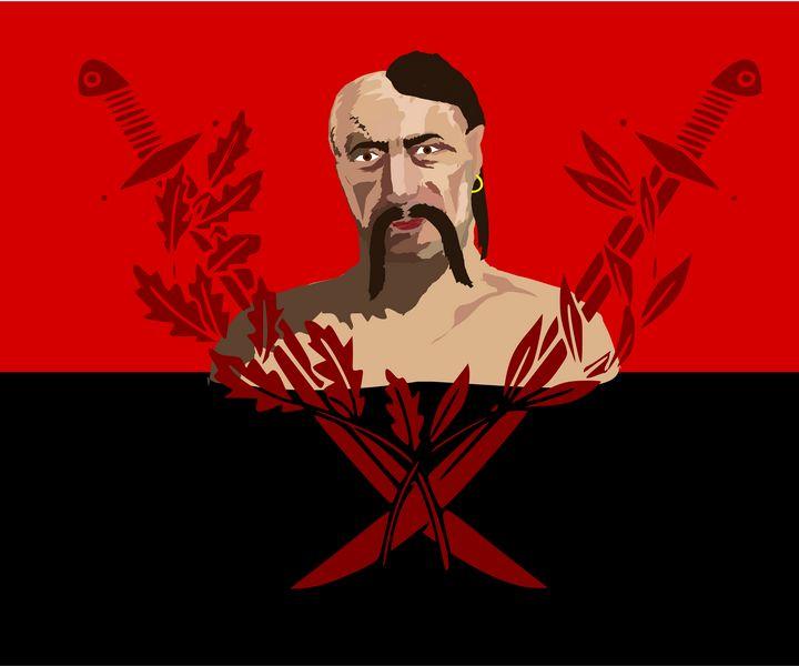 Cossack on red and black flag - Bonna Shejve