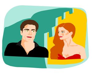 Flirting - handsome man and woman