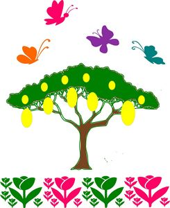 Fruit tree& butterflies in paradise