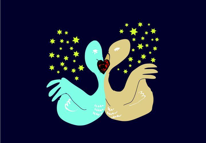 Two doves are kissing at night - Bonna Shejve