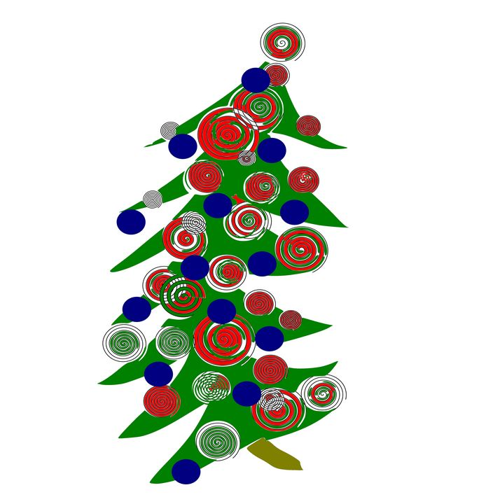 Christmas tree with red and blue bal - Bonna Shejve