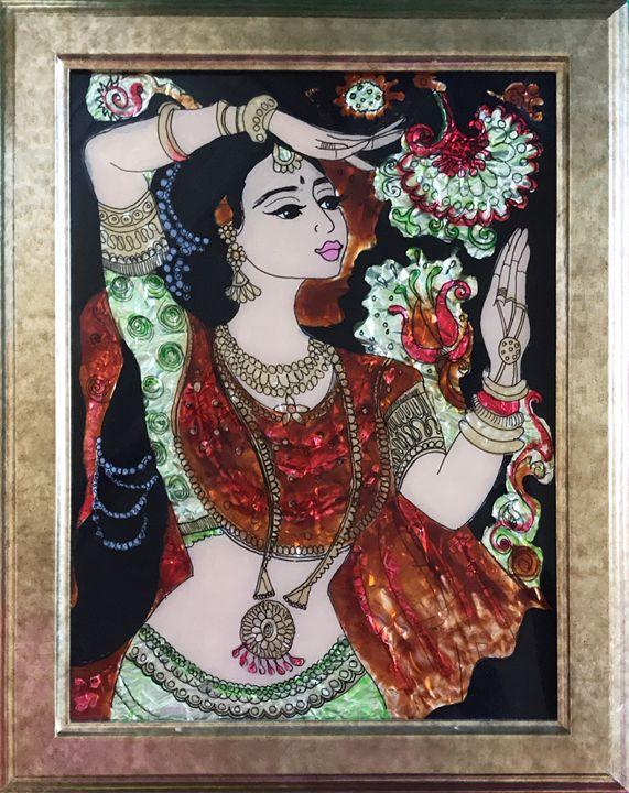 Indian lady- classical dance - DesignArt