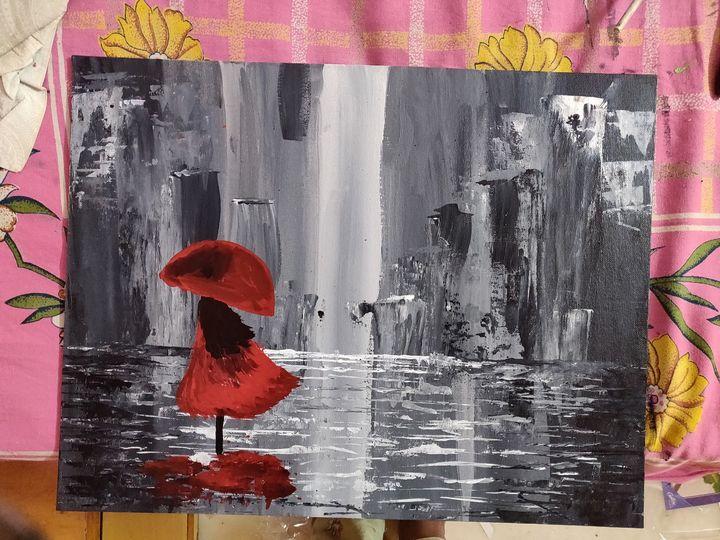 girl standing in rain - artistic
