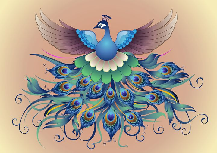 Peacock fly, in a decorative style - painting