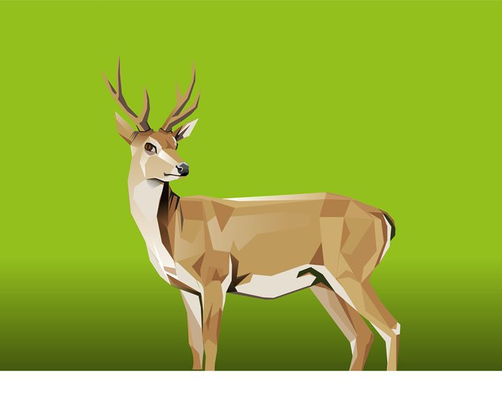 Deer with green Background - painting