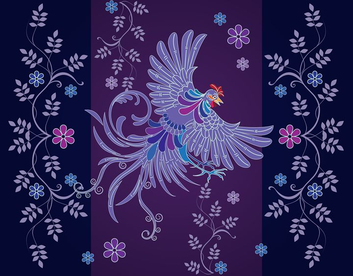 Shape floral rooster textile designs - painting