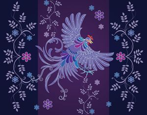 Shape floral rooster textile designs