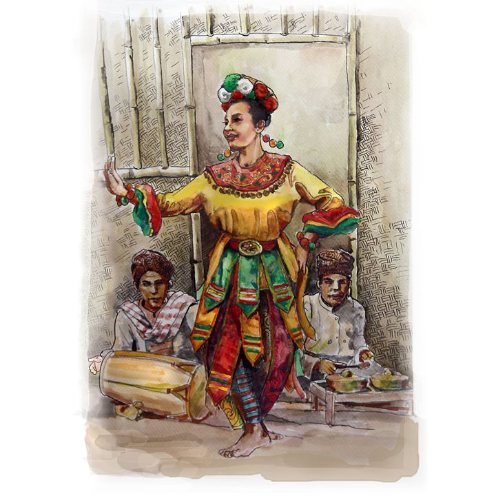Traditional Dancing - painting