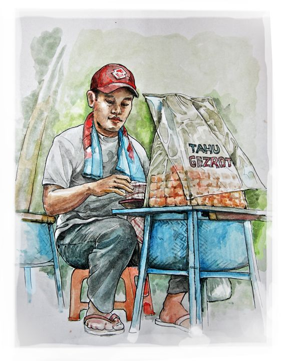 Penjual Tahu gejrot - painting