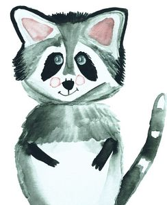 Raccoon Woodland Watercolor