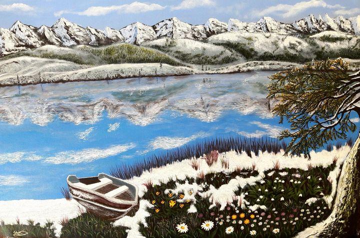 Mountain Alps Lake View Painting - Jacks Ninan Creations Art