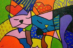 Two Cats in Love (Re Romero Britto)