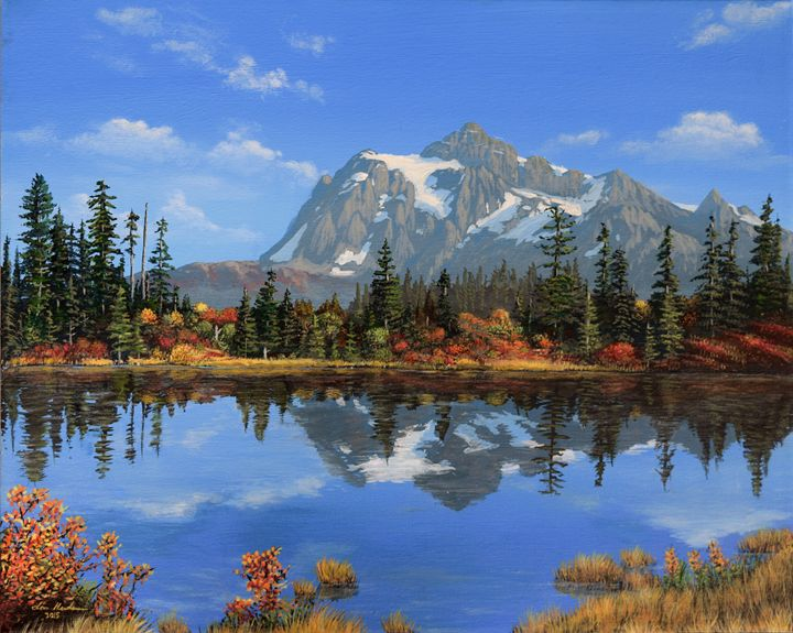 Picture Lake Autumn - Painted Water