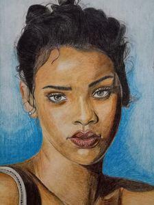 Rihanna Portrait with Colour Pencil