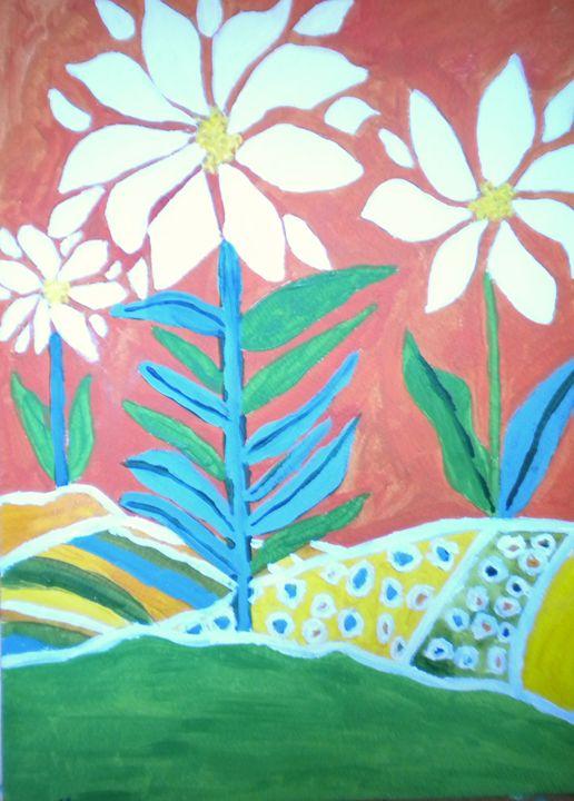 Flowers on Hillside - VickiJane Paintings
