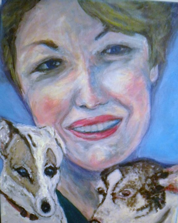Woman with Dogs - VickiJane Paintings