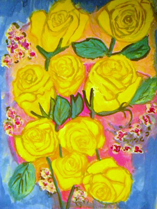 Mothers Yellow Roses - VickiJane Paintings