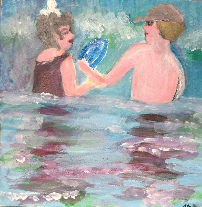 Boy and Girl in Surf - VickiJane Paintings