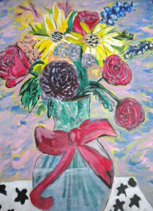 Red Ribbon Flowers - VickiJane Paintings