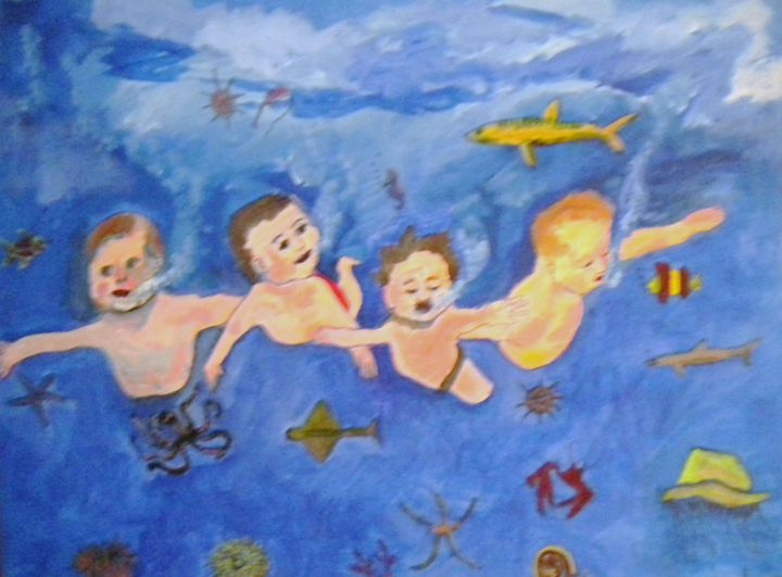 Kids Swimming - VickiJane Paintings