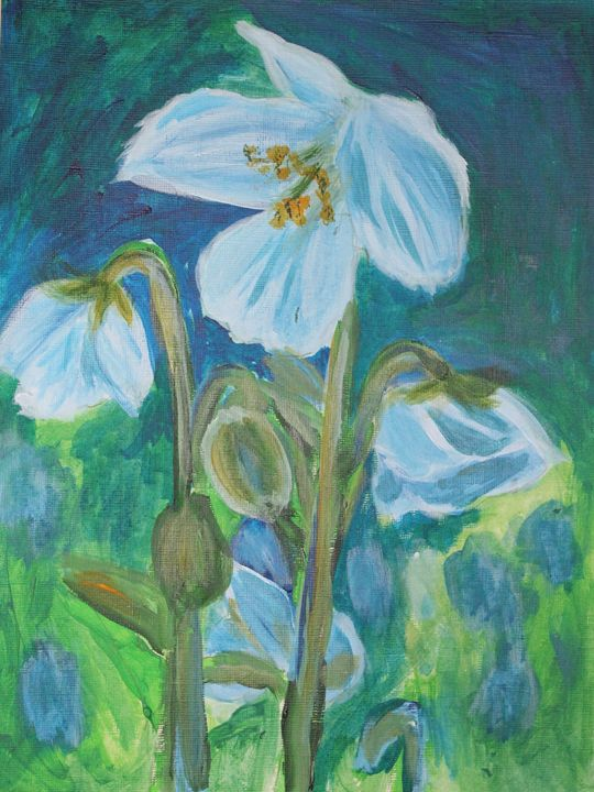 Blue Poppies - VickiJane Paintings