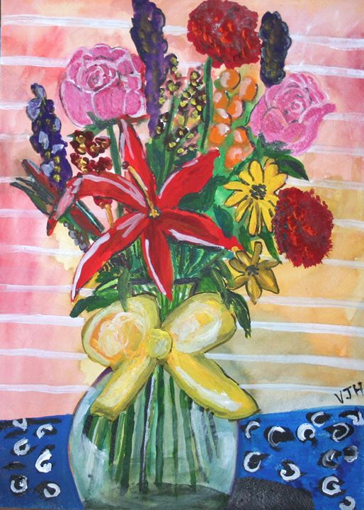 Flowers with Yellow Ribbon - VickiJane Paintings
