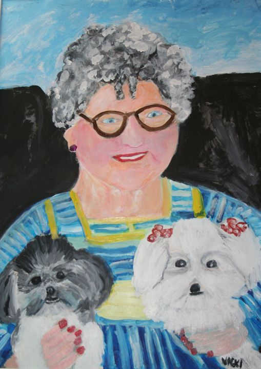Babka and Two Puppies - VickiJane Paintings