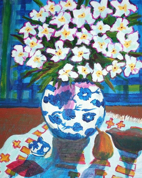 Flowers with pear and yam - VickiJane Paintings