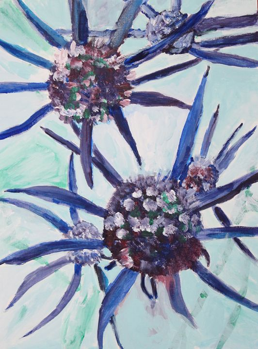 blue thistle - VickiJane Paintings